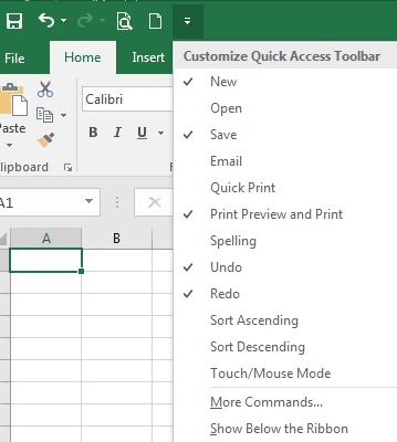 QuickAccess toolbar dropdown