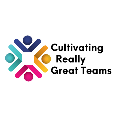 Logo for Cultivating Really Great Teams with a picture of four differed colored figures intertwined
