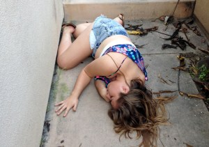 Photo posted on NextDoor.com of a passed out girl