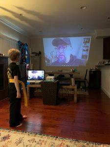 Connor at virtual martial arts class