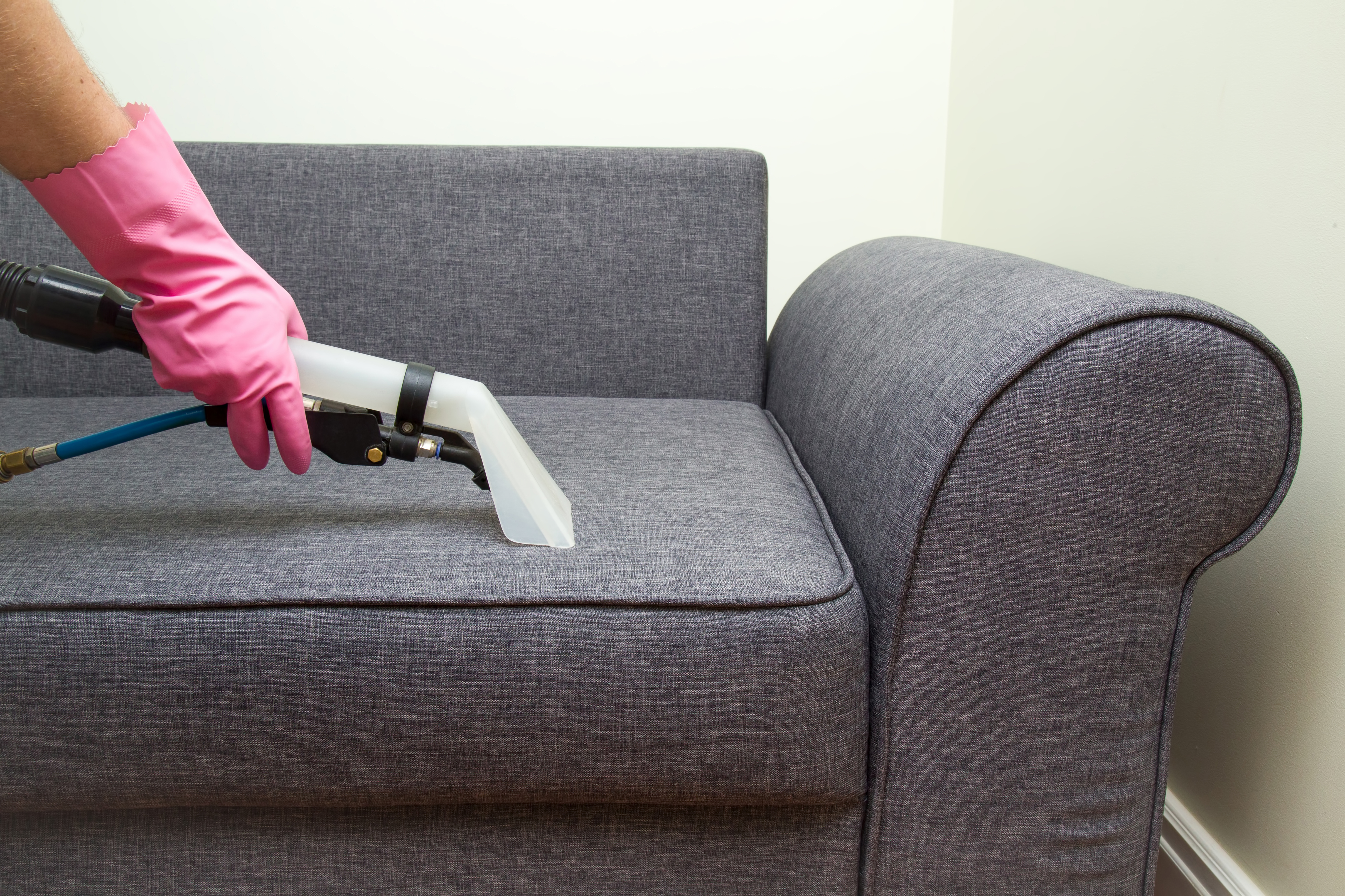 Upholstered furniture professionally chemical cleaning in hotel and house.