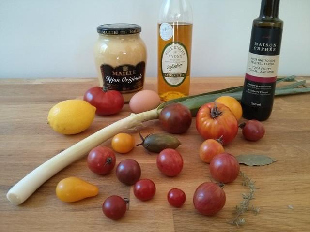 ingrédients vinaigrette aux tomates