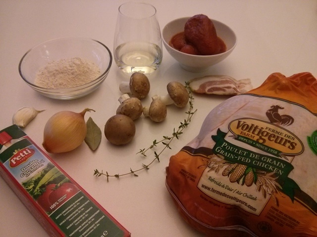 ingrédients du poulet chasseur