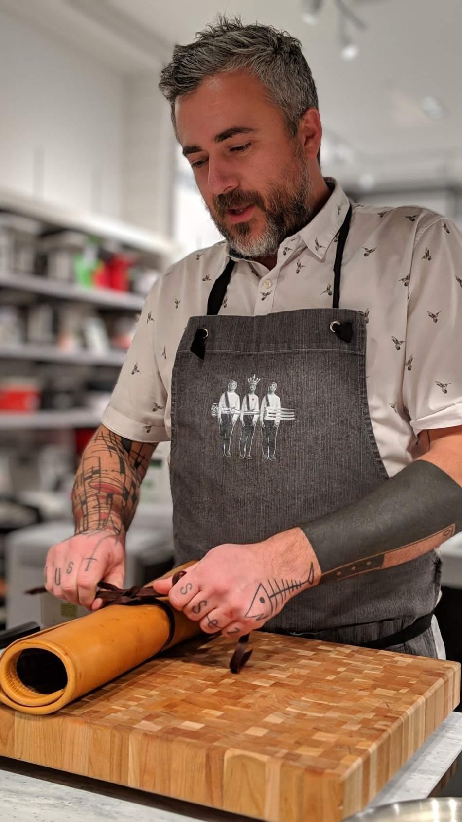 Le chef Martin Juneau du Pastaga Boutique s'apprête à faire l'atelier dans l'espace La Cuisine Rockland
