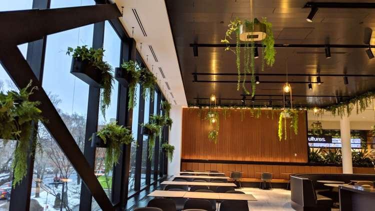 L'éclairage naturel et l'utilisation de matériaux nobles comme le bois façonne l'espace de la nouvelle aire de restauration