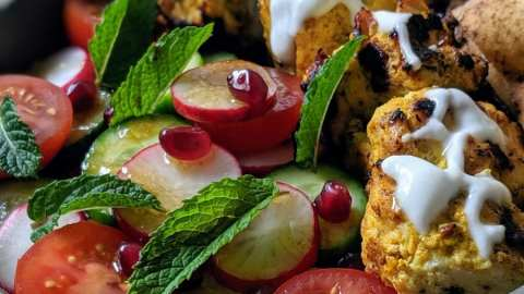 salade fattouche et brochette dinde au Zataar