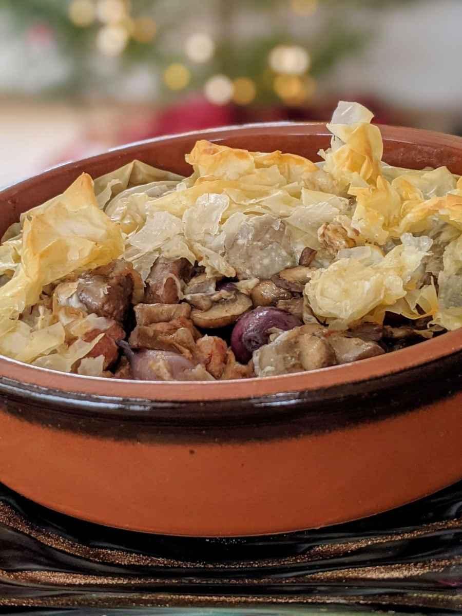 bourguignon de dindon en pâte phyllon