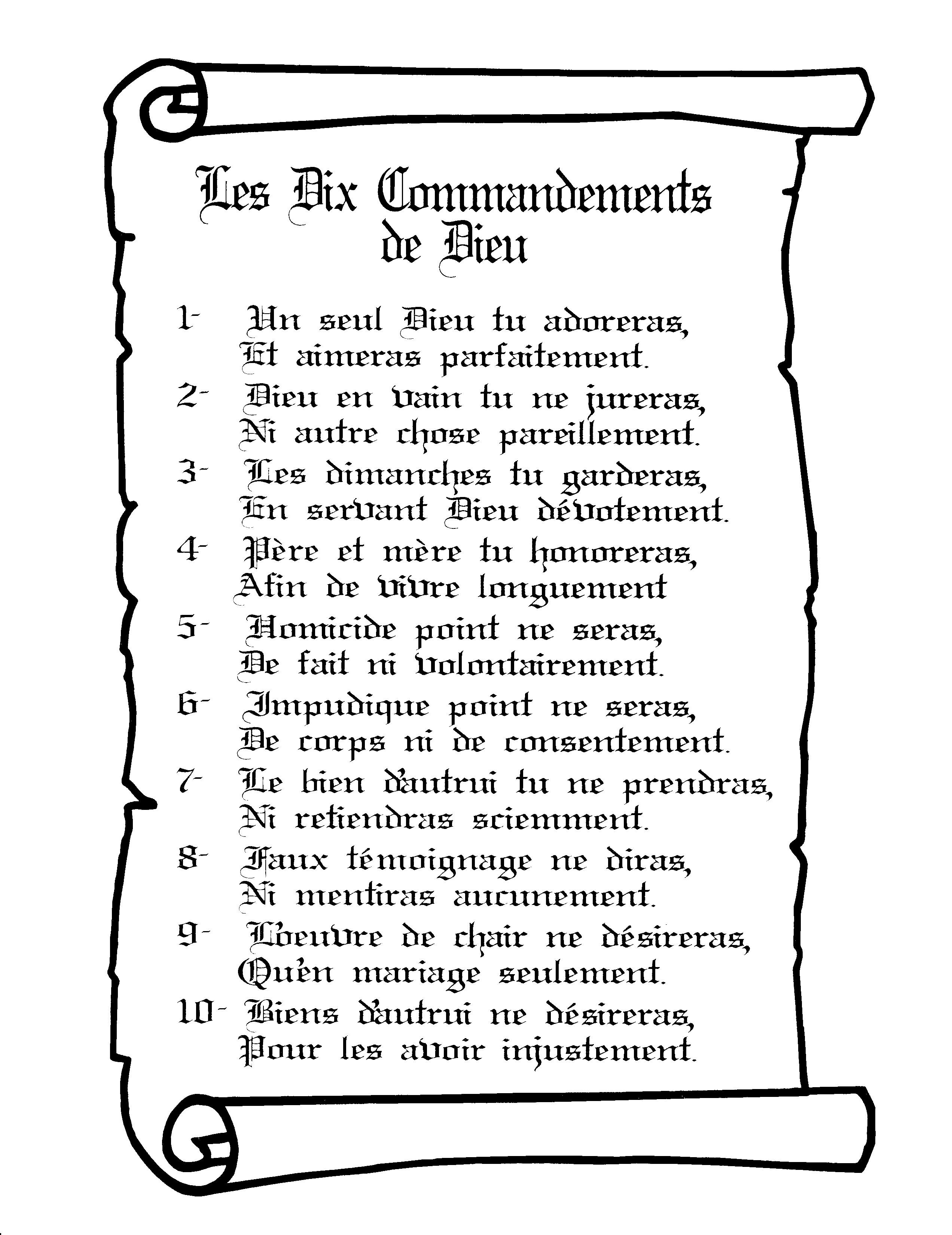 Les 10 Commandements De Dieu : commandements, Commandements, Blanc, Mission, Sainte, MARIE