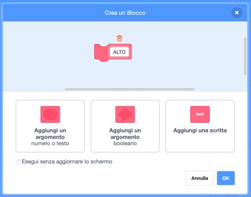 Scratch creazione blocco