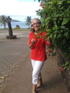 10. Anne relaxed in Nuku Hiva with sweet tiare and hibiscus flowers.