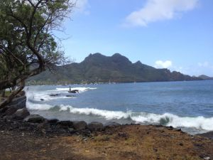 14. Joyful's anchorage in Nuku Hiva with surf that crashed day and night.  It was a good thing, adding to the natural beauty of Nuku Hiva.