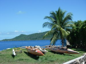 18. We saw many outrigger canoes in the lagoon and in the gardens of houses near the lagoon in Bora Bora.  The canoes built for one person were so light a man could carry the canoe on his shoulder!  We saw this many times.