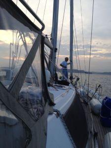 2. Jeff prepared to anchor Joyful near Isla Flamenco.