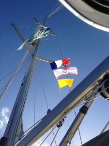 2. Joyful's French and French Polynesia courtesy flags and the Q flag, flew on Joyful's starboard spreader halyard. The Blue Planet Odyssey flag flew on her port spreader halyard, and Joyful's USA ensign flew on her backstay.