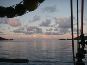 20. Bora Bora's sunset as viewed from Joyful's cockpit while at dock.