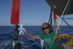 3. Flat Mr. Davis examed the Hydrovane wind powered steering mechanism as Anne looked on.