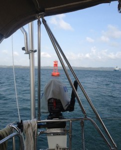 46. A red navigational buoy marked a channel on Lake Gatun.