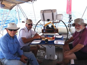 5. Jeff, Ruud, Bill ate lunch together with Anne in Joyful's cockpit.