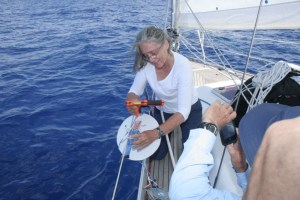 6. Flat Mr. Davis assisted Anne on March 17 during their first attempt to obtain a Secchi depth measurement.  Data was not acquired because the current was too fast.