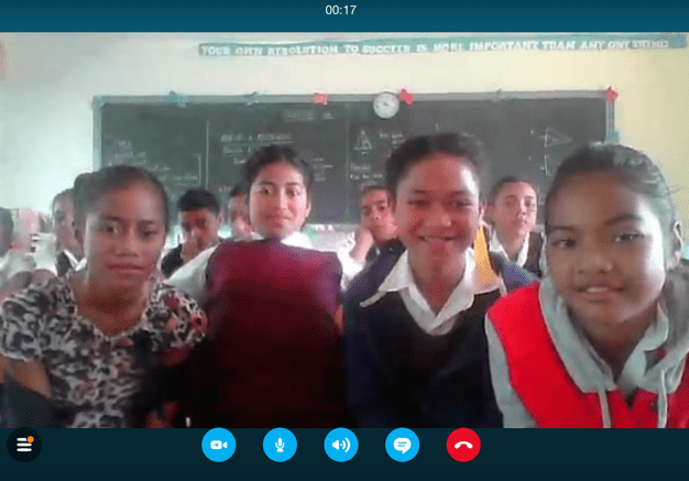 116. This is a photo of the happy Tongan students on the computer screen when the equally happy RHES students were skyping with the Vava'u Side School in Tonga