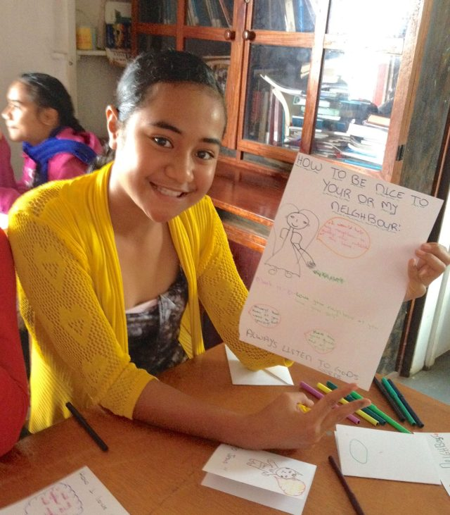 141. A young Tongan girl with a beautiful heart learned about Jesus through art