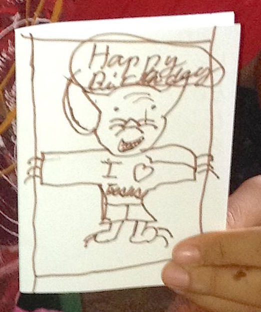 146. This is the wonderful artwork the nice Tongan lad made for a birthday card for someone special. It is of a tiger wearing trousers and a tee shirt saying, %22I love Jesus%22.