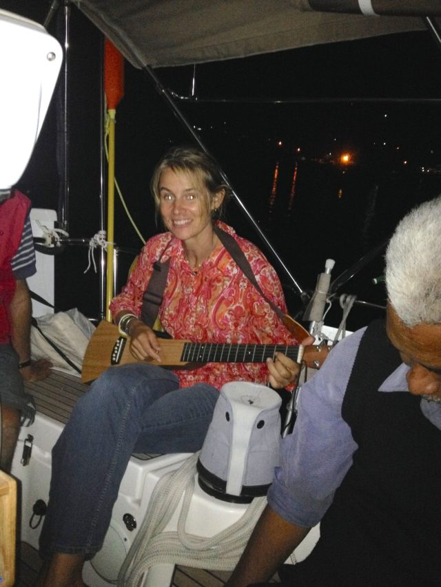 162. Beatrice, another sailing missionary, played Jeff's accustic backpacker guitar beautifully during the musical ministry afternoon tea event in Joyful's cockpit