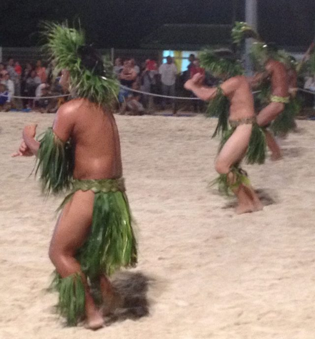 2. Tiipoto male dancers performed war and other traditional dances in the annual dance and cultural program called the Heiva Bora Bora.