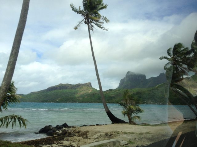 23. Jagged volcanic formations were seen throughout the volcanic island of Bora Bora.