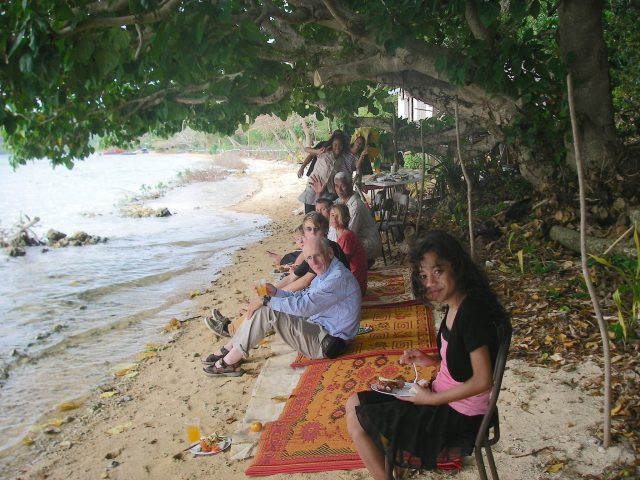 45. A wonderful Tongan family invited us and another sailing missionary family to their home for a traditional Tongan feast. Whales and their calves often are seen a hundred yards in front of their house from their beach!