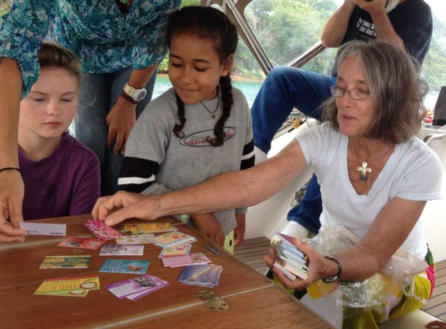 52. Anne's birthday party on Joyful with Gabriella and Ala in photo. Anne gave them Bible verse cards as party favours.