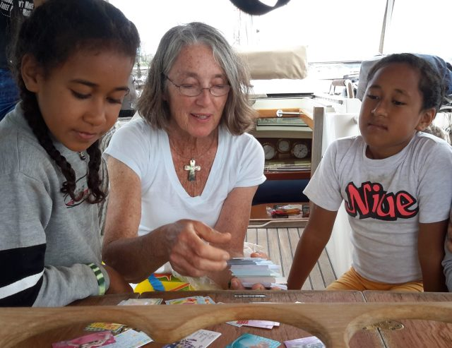 57. Ala, Anne, and Angelina on Joyful. Anne gave her young birthday party guests Bible verse cards as party favours
