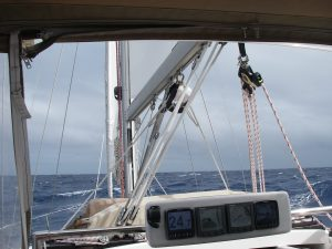 48. We reefed Joyful's sails down during strong winds. The wind increased to gale force for some days. Joyful liked it and did well