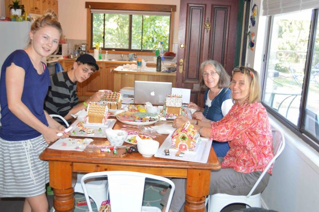 123. Anne, Beatrice, Josh and Gabriella making gingerbread houses to give to aged care centers and a police station on Phillip Island, Australia