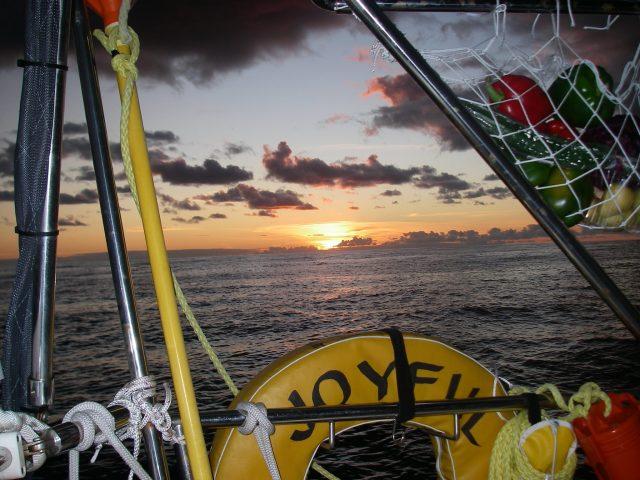 39. A joyful sunset on the Tasman Sea from Joyful's cockpit.