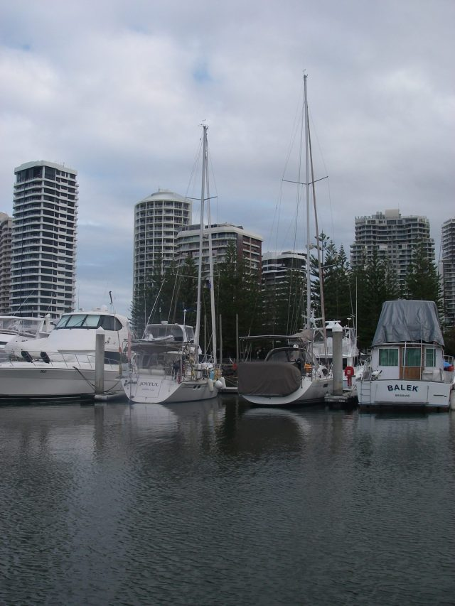 9. Joyful in her berth at the Southport Yacht Club as she waited out strong winds and seas on the way to Pittwater.