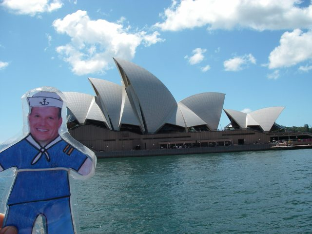 90. Another day, Flat Mr. Davis, Jeff and I visited the Sydney Opera House where they had an annual festival celebrating the cultures of indigineous peoples