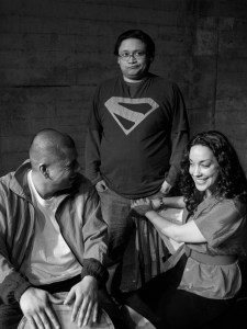 From left to right actors: Carlos Aguirre, Brian Rivera and Vanessa Cota.  Photo credit: Rebeka Rodriguez.