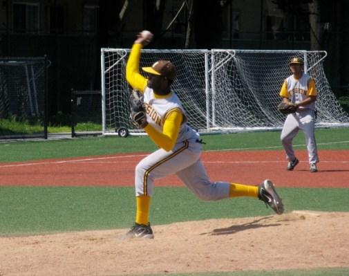 Miles Prescott hurls the pitch