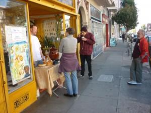 it's a sidewalk soup sale