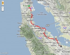The Bayway route, invented by Brett Lider, covers 42.5 miles from Ritual Coffee in the Mission to Google Headquarters in Mountain View.