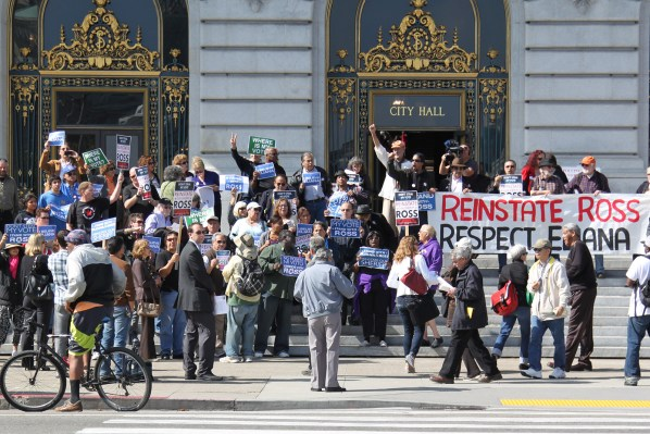 Supporters of suspended city sheriff Ross Mirkarimi rally outside City Hall Tuesday morning. Photo by Yousur Alhlou.