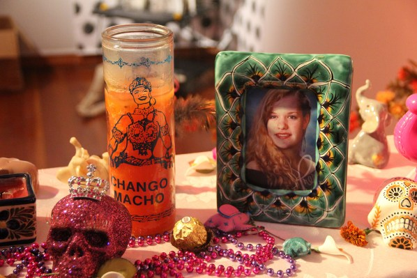 Katelynd Rose Galloway Smith passed away in a car accident before her 21st birthday. Her mother made this altar to honor her memory. Photo by Anne Hoffman.