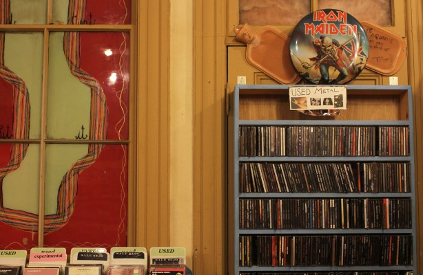 The heavy metal shelf at Aquarius Records.