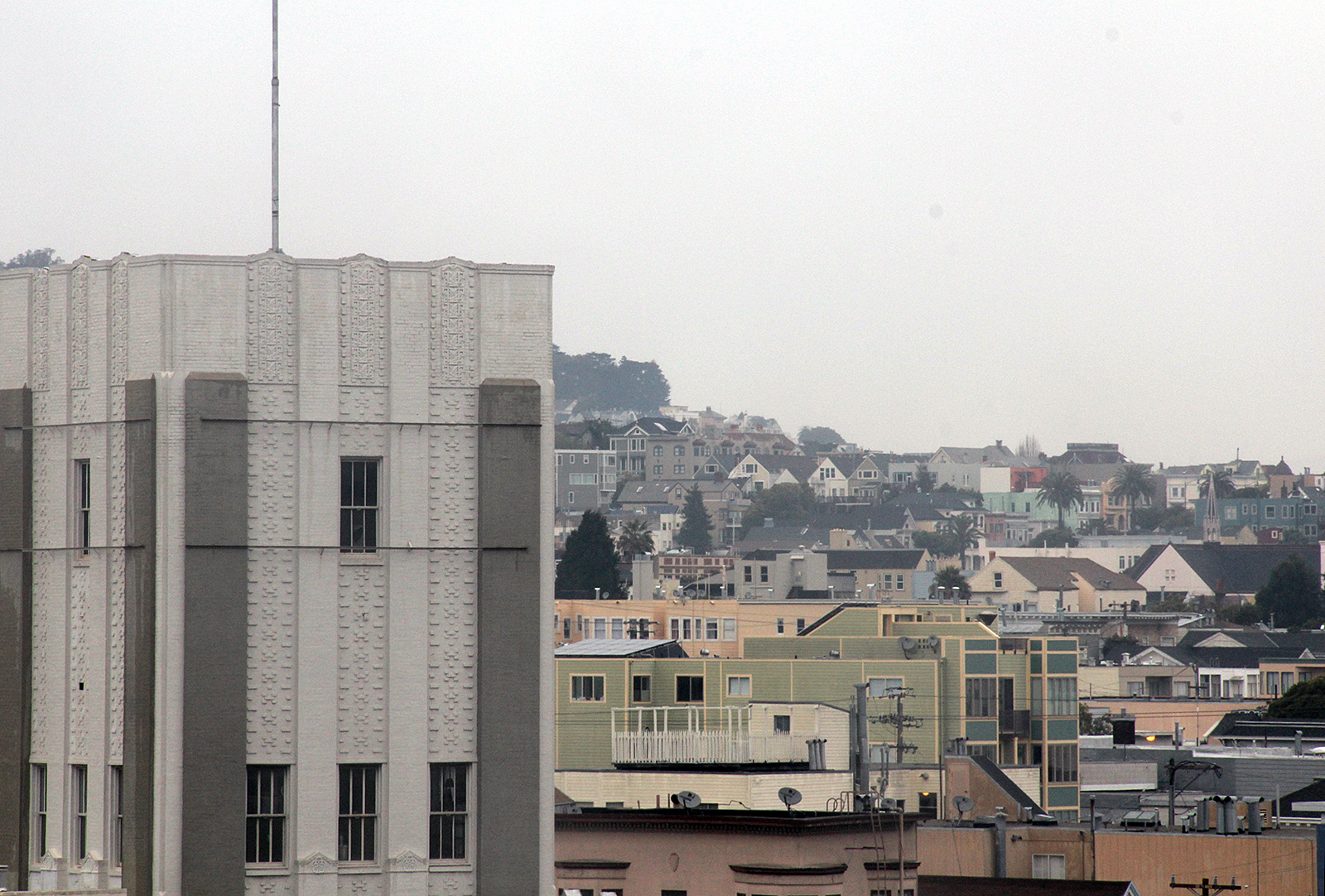 A view of the Mission from Bernal Heights on a cloudy day.