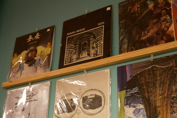 "In all its glory: The record ""Pagan Muzak"" by the group NON – the most expensive album in the store -- is placed in the middle of a top shelf. It's a special 7"" record with locked grooves."