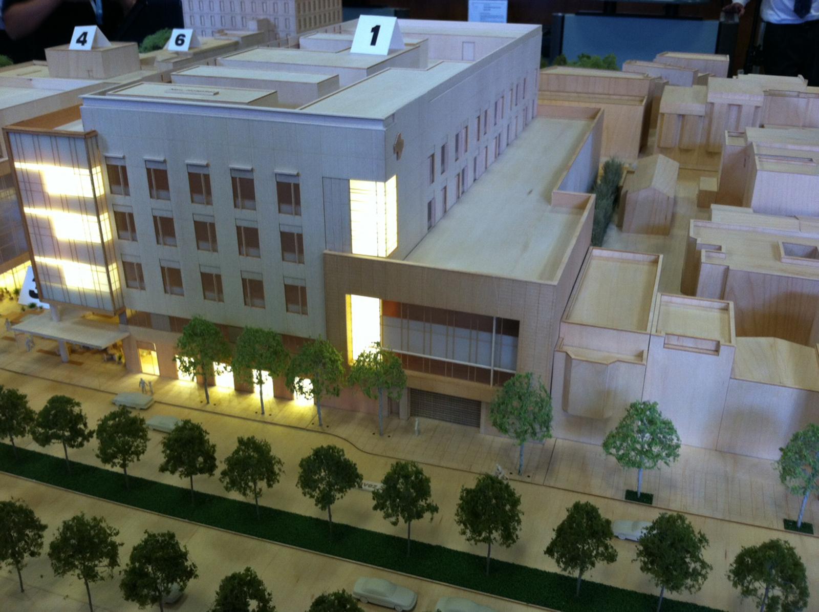 A model of a new plan to rebuild St. Luke's hospital on Cesar Chavez Street.
