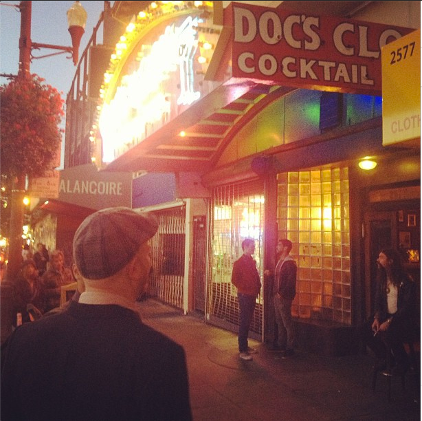"""Actors on the set of """"Looking"""" at Doc's Clock on September 17. Courtesy of Michael Lannan Instagram."""