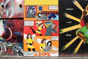 Still a work in progress, this new mural on Clarion Alley depicts how to stop a drug overdose with Narcan, as well as how to get involved in the greater project of harm reduction.