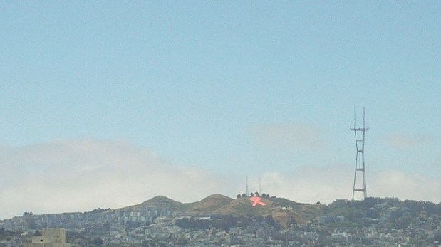 San Francisco's Twin Peaks and Sutro Tower with AIDS Ribbon. Photo courtesy of flickr user charliewarhol
